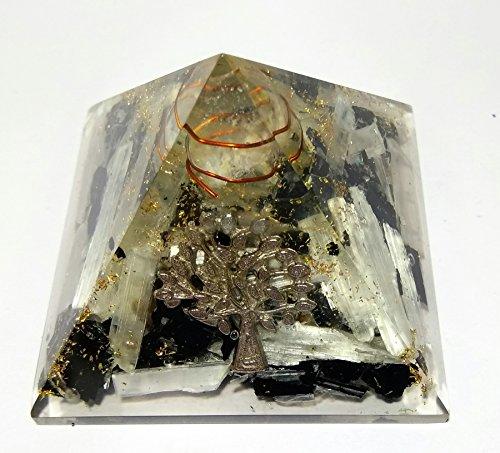 Wholesalegemshop Black Tourmaline   Selenite Tree Of Life Crystal Orgone Reiki Pyramid With Crystal Point