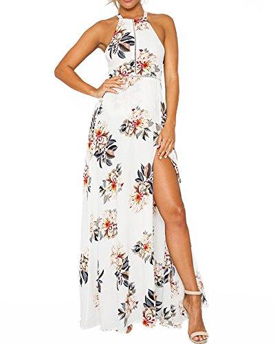 Romacci Women's Sleeveless Halter Neck Maxi Dress Vintage Floral Print Backless Beach Long Dresses S-5XL,Blue/Black (XL, White)