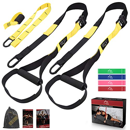 JDDZ Bodyweight Resistance Training Straps, Complete Fitness Trainer kit Included Door Anchor, Extension Strap, 16 Week Program, Fitness Guide, 4 Exercise Loop Bands, Home Gym & Outdoor Workouts