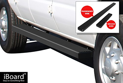 APS iBoard Running Boards (Nerf Bars | Side Steps | Step Bars) for 1999-2014 Ford Econoline Full Size Van | (Black Powder Coated 5 inches) - E-350 Van Econoline