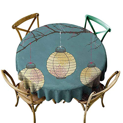Wholesale tablecloths Lantern,Three Paper Lanterns Hanging on Branches Lighting Fixture Source Lamp Boho,Teal Light Yellow,for Accent - Tablecloths Wholesale Polyester