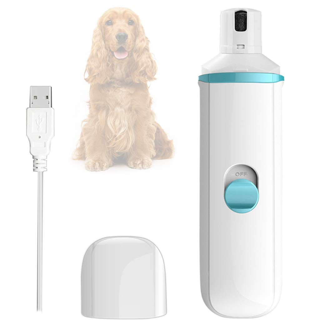 W&P Ultra-Quiet Electric Pet Dog Nail Grinder, Set Safe Dog Nail Clippers Cutter File Grooming Pedicure USB Rechargeable,Blue