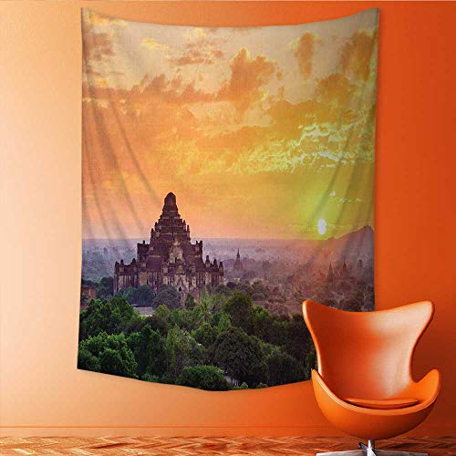 Queen Mandalay (Auraisehome Vertical Version Tapestry The Temples of Bagan Pagan Mandalay Throw, Bed, Tapestry, or Yoga Blanket 60W x 80L INCH)