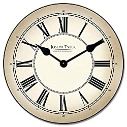 Classy Parchment Wall Clock, Available in 8 Sizes, Whisper Quiet, Non-Ticking