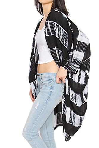 Dolman Sleeve Shrug - TheMogan Women's 3/4 Dolman Sleeve Drapey Oversized Cardigan Black ML