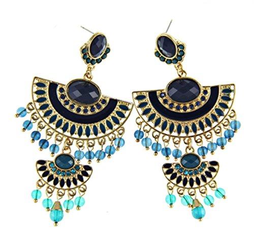Crislu Pendant - Fashion Bohemia Style Gold Plated Crystal Rhinestone Big Pendants Statement Drop Earrings - Blue