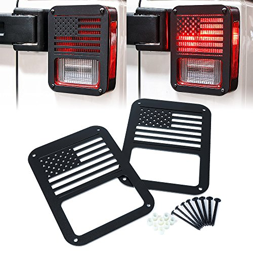 "Xprite ""American US Flag"" Tail Light Covers Guards Protectors for 2007-2018 Jeep Wrangler JK Unlimited Accessories -Pair"