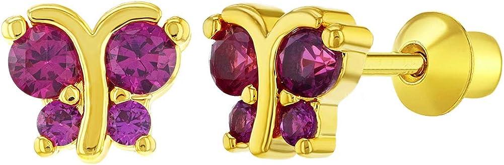 In Season Jewelry - Chapado en Oro 18k Circonita Rosa Aretes en Forma de Mariposa con Cierre de Rosca para Niñas