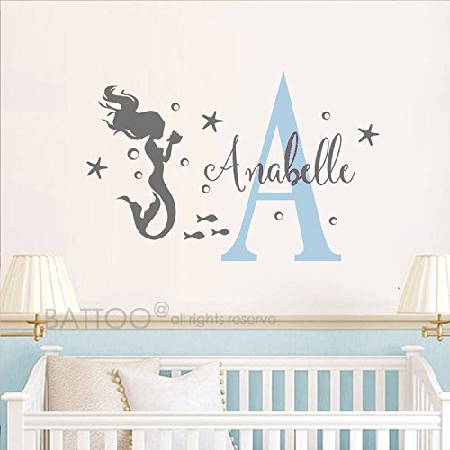 BATTOO Mermaid Wall Decal with Bubbles, Starfish, Initial & Name - Personalized Girls Name Initial Decal - Custom Name Wall Art - Girl Bedroom ()