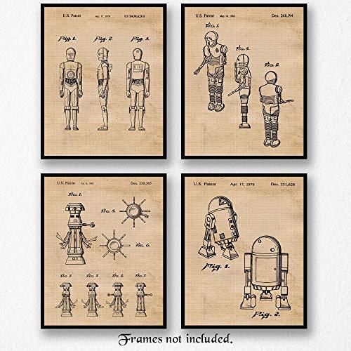 - Original Star Wars Droids-Robots Patent Art Poster Prints - Set of 4 (Four Photos) 8x10 Unframed - Great Wall Art Decor Gifts Under $20 for Home, Office, Man Cave, Garage, Student, Teacher, Movies Fan