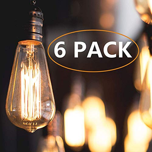 Vintage Edison Light Bulbs, 60 Watt Antique Light Bulb (6 Pack), ST64 - Squirrel Cage Filament - E26 E27 Bulb Base - Dimmable - Edison Light Bulbs, Warm White Incandescent Bulb, 110-120 Volt (60) ()