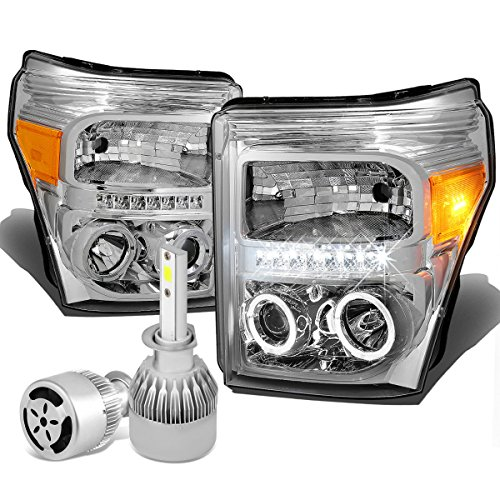 Chrome Housing Dual Halo Projector Headlight W/Amber Signal + H1 LED Conversion Kit W/Fan ()
