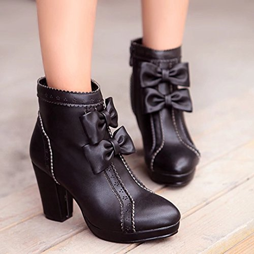 Thick Heel Winter Autumn Round AIYOUMEI Women's Toe Ankle Bootie Bootie Bowtie with Black IxwqI1RXWO