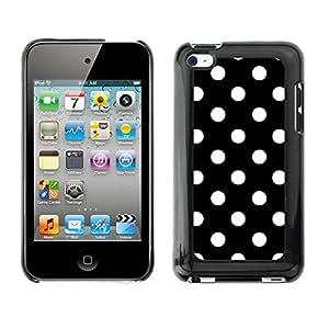 Cubierta de la caja de protección la piel dura para el APPLE IPOD TOUCH 4 - dot black white punk Goth tie