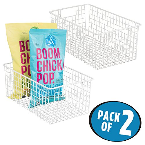 mDesign Deep Wire Storage Basket for Kitchen, Pantry, Cabinet – Pack of 2, Matte White ?