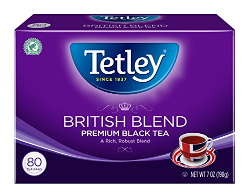 : Tetley British Blend Premium Black, 80-Count Tea Bags, 7 Ounce, (Pack of 6)