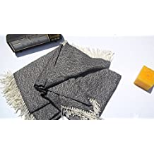 SWEET DREAMS HOME - Deluxe Hypoallergenic 100% Peruvian Alpaca Wool Fiber Throw Blanket, Single Size (130 W x 180 L Cms + 10 Cms fringes) , Mixed-colored Natural Black/White; No colorant nor chemicals. Handmade, Organic