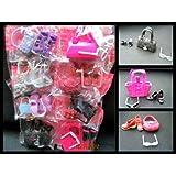 Set of 8 Barbie Sindy Doll sized handbags, shoes, boots, sunglasses, various colours & designs, supplied by Fat-catz-copy-catz