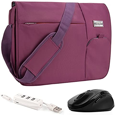 VanGoddy Orchid Purple Executive Anti-Theft Laptop Messenger Bag w/ Wireless Mouse and USB HUB for Dell XPS / Latitude / Inspiron / ChromeBook / Precision Mobile Workstation / 11