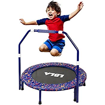 LBLA Little Kids Trampoline with Adjustable Handrail and Safety Padded Cover Mini Foldable Bungee Rebounder