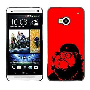 Qstar Arte & diseño plástico duro Fundas Cover Cubre Hard Case Cover para HTC One M7 ( Che Guevara Parody Art Communism Red Star)