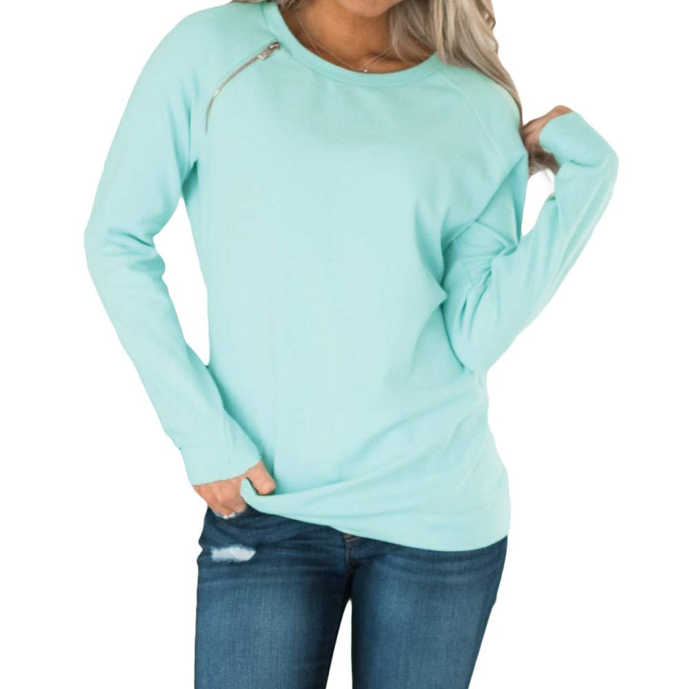 Women Blouse, Farjing Fashion Solid O-Neck Long Sleeve With Zip Detail T-shirt Blouse(M,Blue)