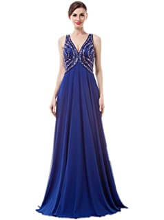 Annas Bridal Womens Beaded V Neck Long Prom Dresses Backless Evening Gowns