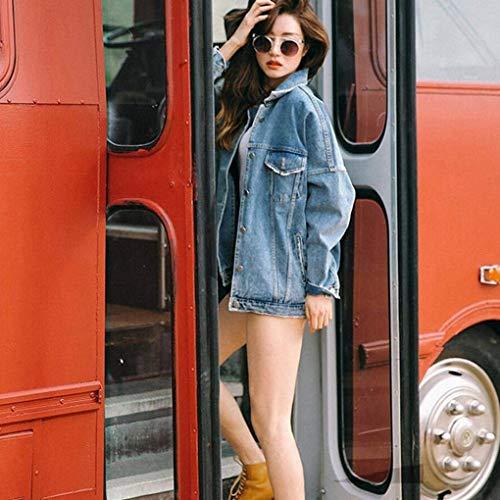 Outerwear Giacca Semplice Autunno Fidanzato Con Cappotto Confortevole Jacket Lunga Moda Sciolto Glamorous Primaverile Manica Jeans Button Giaccone Tasche Elegante Blu Donna Denim Xwx6qpz