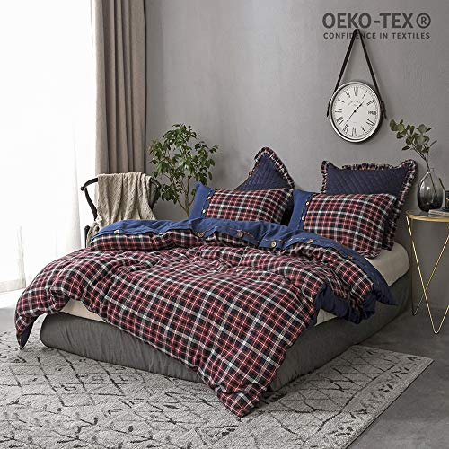 Simple&Opulence 3 Piece Blue and Red Grid Denim Flannel Including 1 Duvet Cover and 2 Pillow Cases Cotton Bedding Set (Flannel Cover Blue Plaid Duvet)