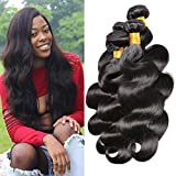 Cheap Iwish Hair 4 Bundles Brazilian Hair Body Wave Human Virgin Hair Bundle Deals Grade 8A Unprocessed Weave No Shedding No Tangle Can be Colored (14 16 18 20, natural black)