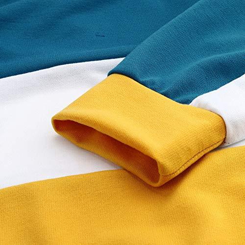Lunga Magliette A Donna Tops Blu T shirt Pullover Yusealia Maglione Da Camicia Felpa Manica Crop Di Colore Maglia Giuntura Ragazza Top Tumblr Camicetta xqIw8wg
