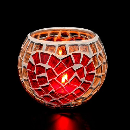 Tuscom European Style Glass Candle Holder , Handmade Mosaic,10.5×10.5×10CM for Tea Light HomeHoliday Adornment Valentine Decor Christmas Wedding Party Gift Candlelight (D) (Red Mosaic Tealight Holder)