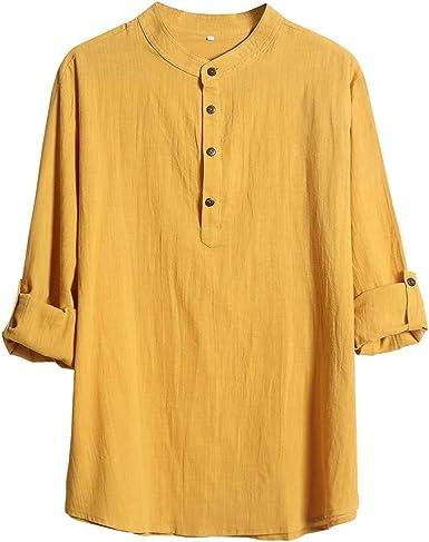 Hombre Cuello Mao Camisa de Oficina Botón Suelta Negocio Tops Mangas Largas Enrolladas Camisetas Amarillo Negro Rojo Blanco: Amazon.es: Ropa y accesorios