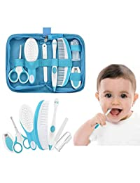 IntiPal Essential Baby Healthcare and Grooming Kit Set - Nail Care Set with Nail Clipper, Brush, File, Scissors, Comb, Toothbrush & Finger Toothbrush for Infants, Newborns, Kids, Boys and Girls (Blue) BOBEBE Online Baby Store From New York to Miami and Los Angeles