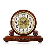 HAOFAY Solid Wood Metal Table Clock, Round Table Clock Retro Desktop Clock, Living Room Clock Table Pendulum Pieces 9 × 3.5 × 11 Inches (brown) ( Color : Not timekeeping )