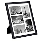 SONGMICS Picture Frame Collage 11'' x14'' Photo Frame Black Holds 5 Photos in 4'' x 6'' with Mat and Glass Protection Display URPF05BK