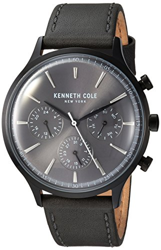 Kenneth Cole New York Men's Stainless Steel Analog-Quartz Watch with Leather Strap, Black, 20 (Model: KC15185004)