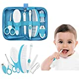 IntiPal Essential Baby Healthcare and Grooming Kit Set - Nail Care Set with Nail Clipper, Brush, File, Scissors, Comb, Toothbrush & Finger Toothbrush for Infants, Newborns, Kids, Boys and Girls (Blue)