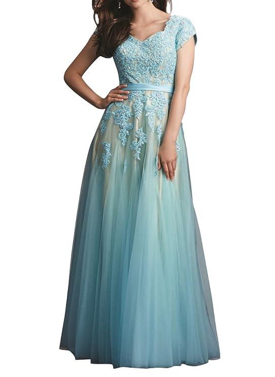 Amazon.com: Firose Women\'s Cap Sleeve Long/Short Lace Tulle Prom ...