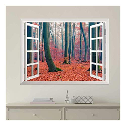 White Window Looking Out Into a Forest During Fall Time Wall Mural