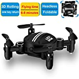 Micro Drone for Kids Headless Mini RC Quadcopters Foldable Remote Control Helicopter Drones 2.4Ghz 6-Axis Gyro 4 Channels Indoor Flying Airplane With One Key Return for Beginner Drone Training (Black)