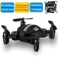 Drone RC Mini Drones for Kids Headless Quadcopter Drone with Foldable Remote Control Helicopter 2.4GHz 6-Axis One Key Return Small Airplane for Indoor Outdoor Flying (Black)