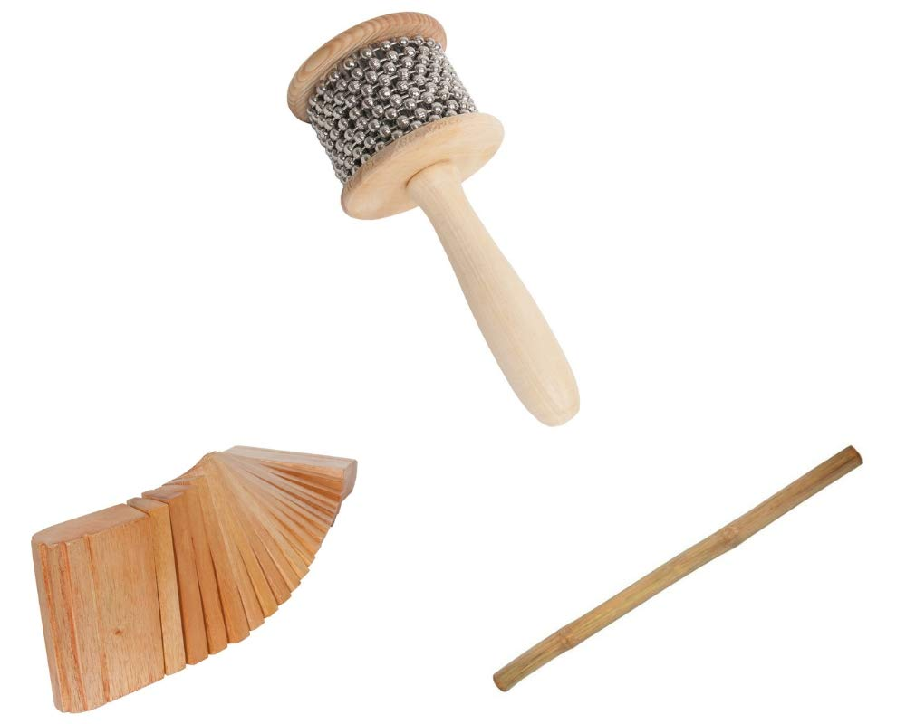 Cabasa Package Includes: Medium Wooden Hand Percussion Shaker W/Metal Beads + Rain Stick 39'' Shaker Percussion Bamboo Sticks Instruments