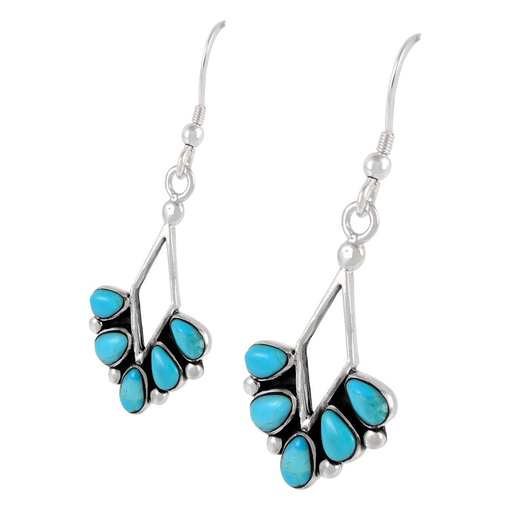 Turquoise Earrings 925 Sterling Silver & Genuine Turquoise (Dainty Dangles) by Turquoise Network (Image #2)