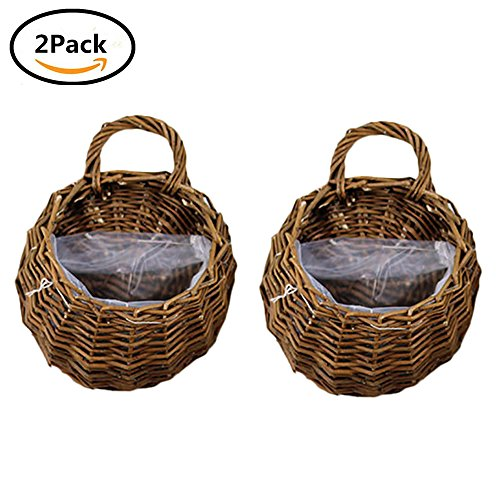 UPC 741513723399, Yunhigh Hanging Planter Basket Wall Mounted Hand Woven Wicker Flower Pot Plant Holder Rattan Vase Container Home Office Decoration,Set of 2