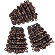 """Double Drawn 8"""" 321g/3Bundles New Deep Wave Curly Hair Weft for Black Women 7A+ 100% Real Natural Brazilian Virgin Remy Human Hair Weave Extensions Full Head Short Bobs Natural Black Blonde #F1B.30"""