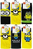 Despicable Me Minions Mens Official Socks USA 9-12 With Bonus XWi Microfiber Fitness Sport Towel (3 Pack)