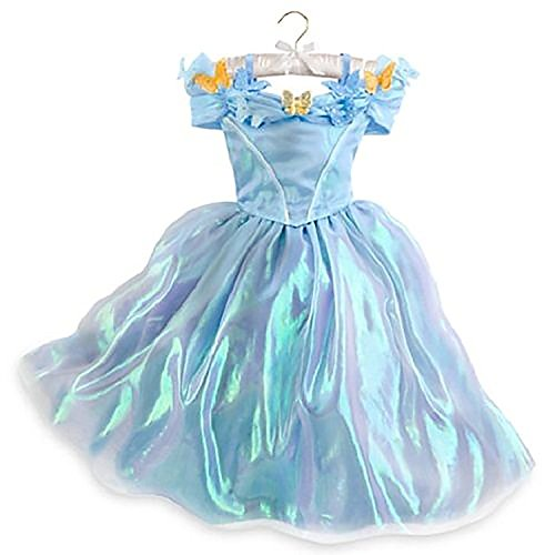 Disney Store Authentic Girls Cinderella Live Action Blue Butterfly Costume Dress (3/4)]()