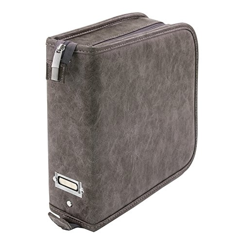 Stamp Storage Binder by Tim Holtz Idea-ology, Faux Leather, 3 H × 10 W × 9.75 D Inches, Gray  (CH93822)