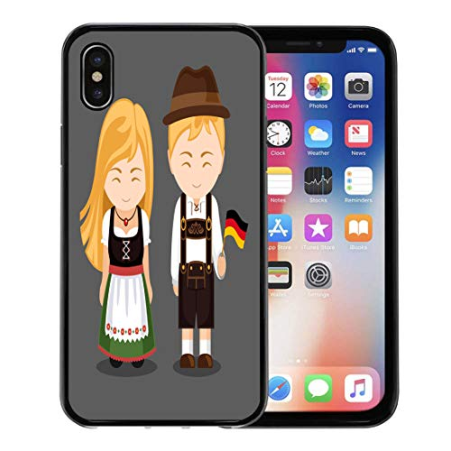 Semtomn Phone Case for Apple iPhone Xs case,Germans in National Dress Flag Man and Woman Traditional Bavarian Costume Travel to Germany People for iPhone X Case,Rubber Border Protective Case,Black]()